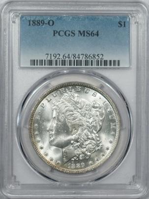 Morgan Dollars 1889-O MORGAN DOLLAR – PCGS MS-64 FLASHY & PREMIUM QUALITY!