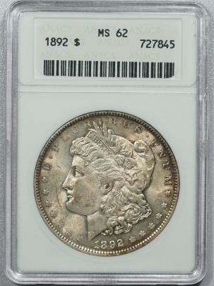 New Certified Coins 1892 MORGAN DOLLAR – ANACS MS-62 ORIGINAL, OLD WHITE HOLDER!