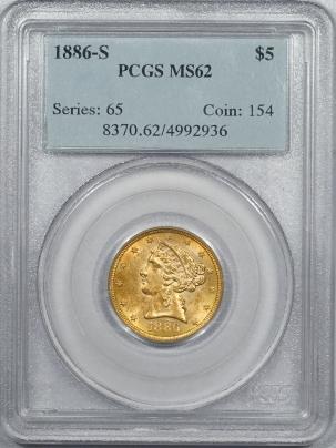 $5 1886-S LIBERTY HEAD GOLD – PCGS MS-62