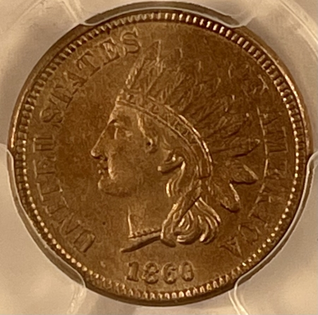New Certified Coins 1860 INDIAN CENT, POINTED BUST – PCGS MS-61