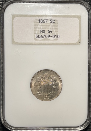Coin World/Numismatic News Featured Coins 1867 SHIELD NICKEL – NGC MS-64 FATTY HOLDER & PREMIUM QUALITY!