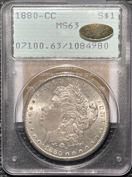 New Certified Coins 1880-CC MORGAN DOLLAR – PCGS MS-63, GOLD CAC & MS-64+ QUALITY! RATTLER!