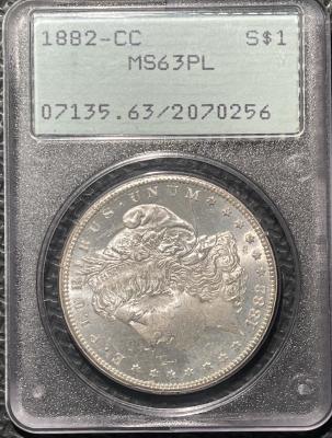 New Certified Coins 1882-CC MORGAN DOLLAR – PCGS MS-63PL, PREMIUM QUALITY! VITUALLY GEM! RATTLER!