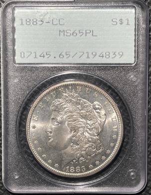 New Certified Coins 1883-CC MORGAN DOLLAR – PCGS MS-65PL, SUPERB! RATTLER!