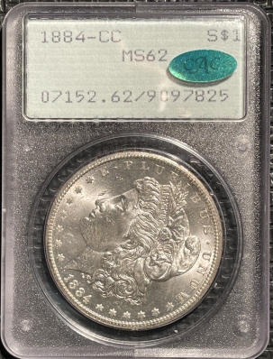CAC Approved Coins 1884-CC MORGAN DOLLAR – PCGS MS-62 CAC APROVED! RATTLER!