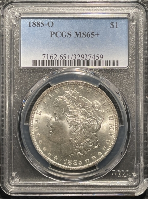 New Certified Coins 1885-O MORGAN DOLLAR – PCGS MS-65+, PREMIUM QUALITY! LOOKS 66!