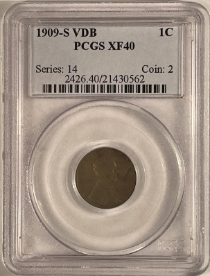 New Certified Coins 1909-S LINCOLN CENT, VDB – PCGS XF-40