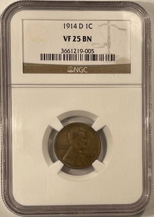 New Certified Coins 1914-D LINCOLN CENT – NGC VF-25 BN