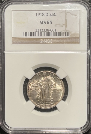 Coin World/Numismatic News Featured Coins 1918-D STANDING LIBERTY QUARTER – NGC MS-65 FRESH, PREMIUM QUALITY GEM!
