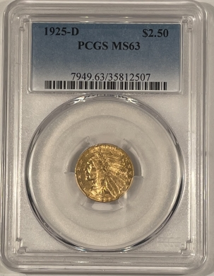 New Certified Coins 1925-D $2.50 INDIAN HEAD GOLD – PCGS MS-63