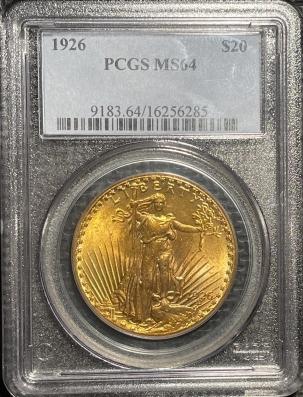 $20 1926 $20 ST GAUDENS GOLD – PCGS MS-64 PREMIUM QUALITY!