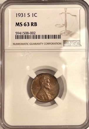 Lincoln Cents (Wheat) 1931-S LINCOLN CENT – NGC MS-63 RB