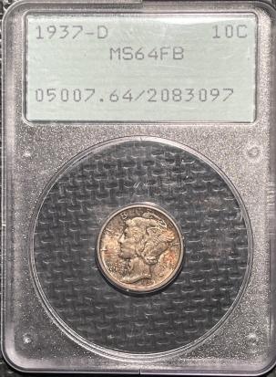 Mercury Dimes 1937-D MERCURY DIME – PCGS MS-64 FB ORIGINAL TONED, RATTLER!