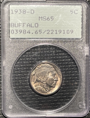Buffalo Nickels 1938-D BUFFALO NICKEL – PCGS MS-65 RATTLER!