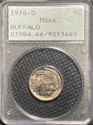 Buffalo Nickels 1938-D BUFFALO NICKEL – PCGS MS-66 LOOKS 67! PREMIUM QUALITY! RATTLER!