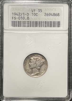 Coin World/Numismatic News Featured Coins 1942/1-D MERCURY DIME – ANACS VF-35 FS-010.8, OLD WHITE HOLDER!