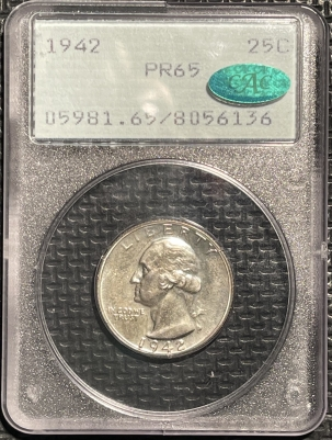 CAC Approved Coins 1942 PROOF WASHINGTON QUARTER – PCGS PR-65 CAC APPROVED! PQ! RATTLER! 67 QUALITY