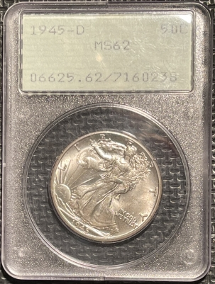 New Certified Coins 1945-D WALKING LIBERTY HALF DOLLAR – PCGS MS-62 PREMIUM QUALITY! RATTLER!