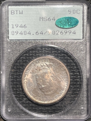 CAC Approved Coins 1946 BOOKER T. WASHINGTON COMMEMORATIVE HALF DOLLAR – PCGS MS-64 CAC! RATTLER!