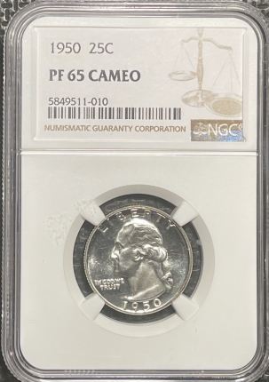 Coin World/Numismatic News Featured Coins 1950 PROOF WASHINGTON QUARTER – NGC PF-65 CAMEO FROSTED & PREMIUM QUALITY!