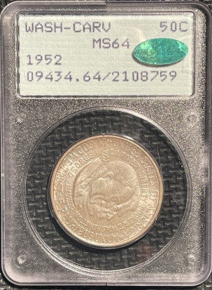 New Certified Coins 1952 WASH-CARV COMMEMORATIVE HALF DOLLAR – PCGS MS-64 CAC APPROVED! RATTLER!