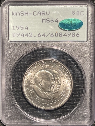 New Certified Coins 1954 WASH-CARV COMMEMORATIVE HALF DOLLAR – PCGS MS-64 PQ! CAC APPROVED! RATTLER!
