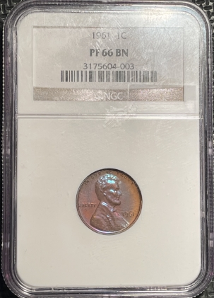 New Certified Coins 1961 PROOF LINCOLN CENT – NGC PF-66 BN PRETTY!