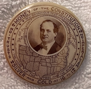 """Pre-1920 EXCESSIVELY RARE 1900 WILLIAM JENNINGS BRYAN 1 1/2"""" CAMPAIGN BUTTON-GRAPHIC!"""