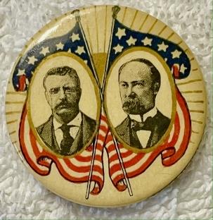 "Pre-1920 1904 ROOSEVELT-FAIRBANKS 1 1/4"" CELLO BUTTON, GRAPHIC, SCARCE & EXC COND!"
