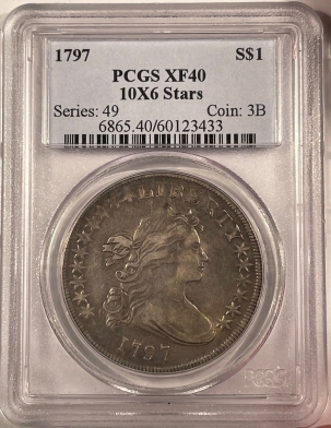Coin World/Numismatic News Featured Coins 1797 DRAPED BUST DOLLAR – 10X6 STARS – PCGS XF-40 WELL STRUCK & PLEASING!