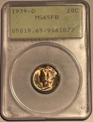 Mercury Dimes 1939-D MERCURY DIME – PCGS MS-65 FB PREMIUM QUALITY! RATTLER!