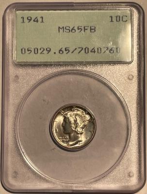 Mercury Dimes 1941 MERCURY DIME – PCGS MS-65 FB, LOOKS 67 FB! PQ! RATTLER!