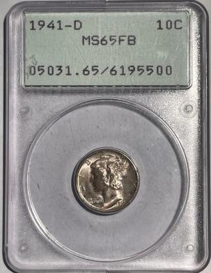 Mercury Dimes 1941-D MERCURY DIME – PCGS MS-65 FB, 67 QUALITY, ORIGINAL, PQ! RATTLER!