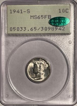 CAC Approved Coins 1941-S MERCURY DIME – PCGS MS-65 FB, 67+ QUALITY, PQ++ & CAC APPROVED! RATTLER!