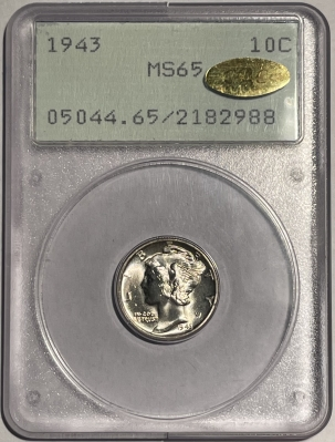 CAC Approved Coins 1943 MERCURY DIME – PCGS MS-65 LOOKS MS-67 FB! GOLD CAC APPROVED! RATTLER!
