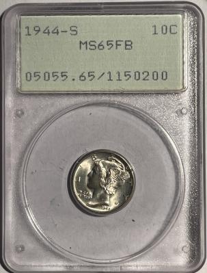 Mercury Dimes 1944-S MERCURY DIME – PCGS MS-65 FB, MS-67 FB QUALITY! PQ! RATTLER!