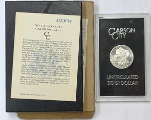 Morgan Dollars 1882-CC MORGAN DOLLAR GSA BOX & CARD, UNCIRCULATD FULL PL/DMPL, ORIG MAILING BOX
