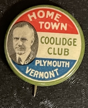Post-1920 SCARCE 1924 HOMETOWN COOLIDGE CLUB GRAPHIC 7/8″ CAMPAIGN BUTTON-COLORFUL & MINT!