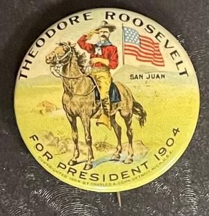 Pre-1920 RARE 1904 1 1/4″ MULTICOLOR TEDDY ROOSEVELT ON HORSE CAMPAIGN BUTTON-MINT!