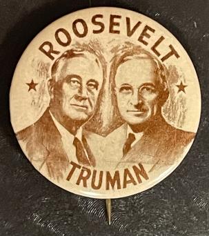Post-1920 1944 ROOSEVELT-TRUMAN 1 1/2″ SEPIA JUGATE CAMPAIGN BUTTON-SCARCE & MINT!