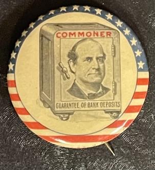 "Pre-1920 1900 1 1/4″ BRYAN ""COMMONER"", PIC SUPERIMPOSED ON SAFE CAMPAIGN BUTTON-RARE/MINT"