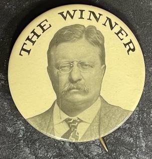 "Pre-1920 CLASSIC 1912 TEDDY ROOSEVELT ""THE WINNER"" 2 1/8″ CAMPAIGN BUTTON-RARE & MINT!"