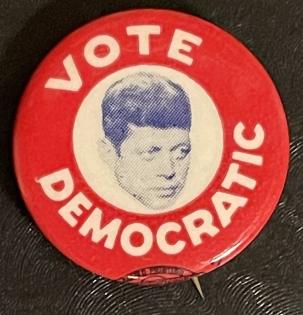 """Post-1920 SCARCE 1960 JOHN F KENNEDY """"VOTE DEMOCRATIC"""" 1″ PHOTO CAMPAIGN BUTTON-MINT!"""