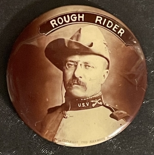 """Pre-1920 RARE 1900 1 1/4″ TEDDY ROOSEVELT """"ROUGH RIDER"""" SEPIA CAMPAIGN BUTTON-PRETTY/MINT"""