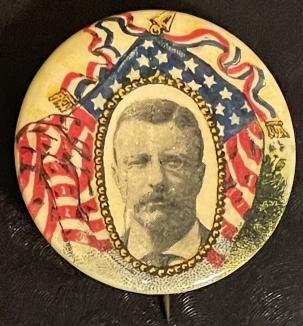 Pre-1920 CLASSIC 1904 TEDDY ROOSEVELT MULTICOLOR FLAGS 1 1/4″ CAMPAIGN BUTTON-PRETTY/MINT