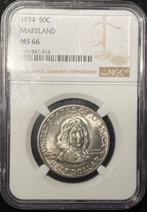 New Certified Coins 1934 MARYLAND COMMEMORATIVE HALF DOLLAR – NGC MS-66 FRESH & PREMIUM QUALITY!