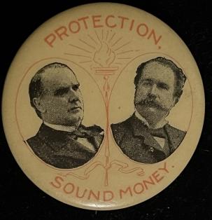 Other Collectibles 1896 MCKINLEY-HOBART SOUND MONEY, 1 3/4″ CELLO, JUGATE – EXCELLENT/NEAR MINT!