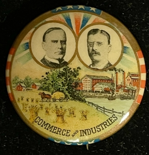 Other Collectibles 1900 MCKINLEY-ROOSEVELT, 1 1/4 CELLO JUGATE-COLORFUL & GRAPHIC W/ MERTZ! MINT!