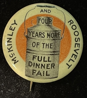 Other Collectibles SCARCE 1900 MCKINLEY-ROOSEVELT, FULL DINNER PAIL, MINT W/ BACK PAPER, GRAPHIC!