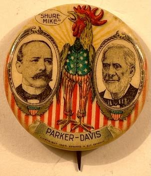 Pre-1920 CLASSIC 1904 PARKER-DAVIS, SHURE MIKE 1 1/4″ CELLULOID BUTTON, GRAPHIC & MINT!